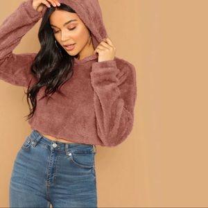 Crop Top Fuzzy Sweater
